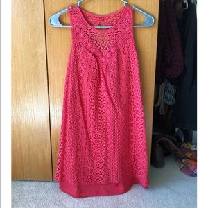 Dresses & Skirts - Coral color lacy dress